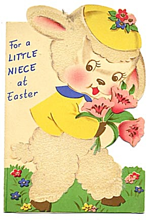 Vintage Easter Card: Fuzzy Lamb with Flowers (Image1)