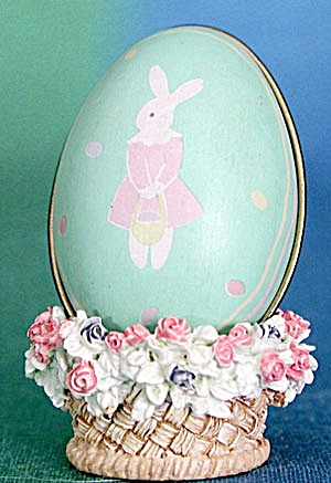 Vintage Hallmark Sea Green Bunny Egg Candy Container (Image1)
