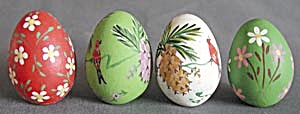 Vintage Hand Painted Wooden Eggs Set Of 4