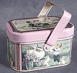 Repo Of Antique Easter Tin With Handle
