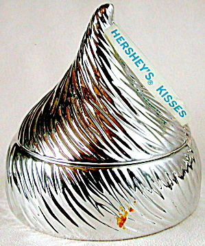 Vintage Silver Glass Hershey Kiss Candy Container