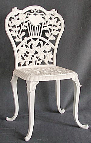 Flower & Leaf White Iron Doll Chair  (Image1)