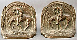Vintage Solid Bronze The End Of The Trail Bookends (Image1)