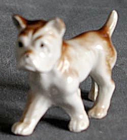 Vintage Brown & White China Dog (Image1)