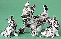 Scottie Dog Figurine With 2 Smaller Ones On Chain