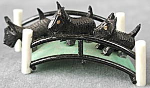 Art Deco Celluloid 3 Scotties on a Bridge (Image1)