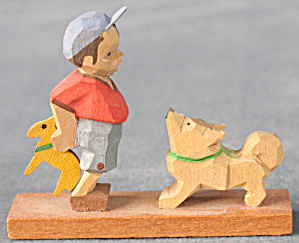 Vintage Erzgebirge Miniature Hand Carved Dog & Boy