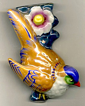 Vintage Bird Luster Wall Pocket