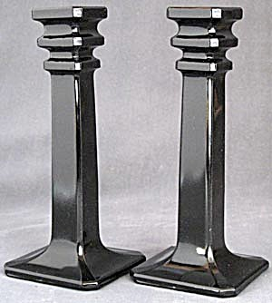 Vintage Pair Black Glass Candlesticks