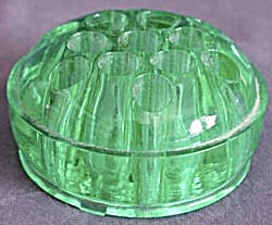 Vintage Green Glass Flower Frog