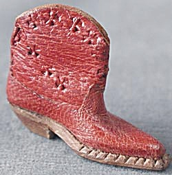 Vintage Miniature Leather Cowboy Boot (Image1)