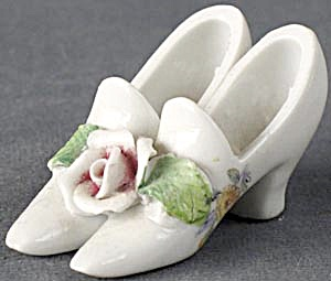 Vintage Bone China Miniature Shoes Set Of 2