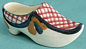 Vintage Made In France Miniature Pottery Shoe