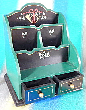 Vintage Hand Painted Wooden Multi Desk Organizer