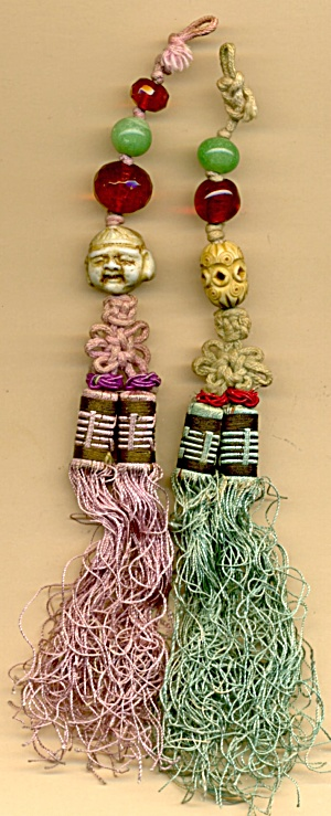 Vintage Silk Beaded Chinese Tassels Set Of 2