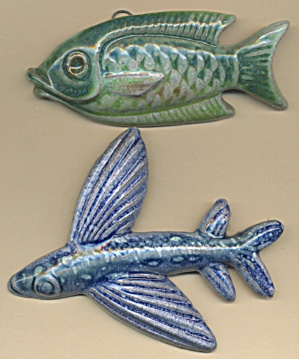 Vintage Clay Glazed Fish Plaques Set Of 2