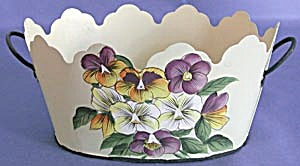 Metal Hand Painted Pansy 2 Handled Container