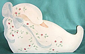 Wooden Hand Painted Swan Wall Pocket