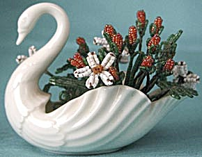 Vintage Lenox China Swan Filled With Beaded Flowers
