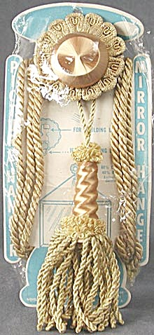 Vintage Gold Cord Medallion Picture Or Mirror Hanger