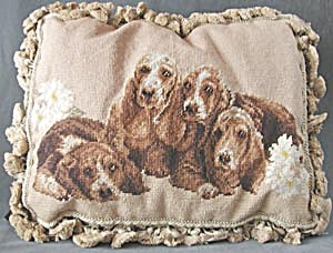 Basset Hound Needlepoint Pillow
