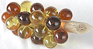 Vintage Lucite Golden Grape Bunch On Wood Stem