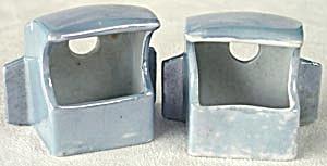 Vintage Blue Luster Porcelain Bird Cage Seed Cups (Image1)