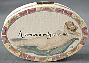 Small Oval Hinged Box With Cigar & Woman