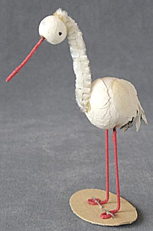 Vintage Spun Cotton & Chenille Pipe Cleaner Storks
