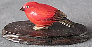 Vintage Celluloid Red Bird On Wood Base