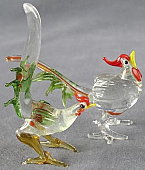 Vintage Glass Pheasant Figurines