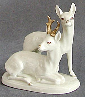 Victorian German White Stag and Doe (Image1)