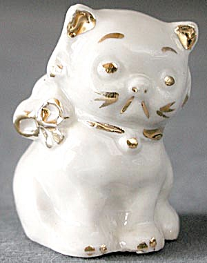 Vintage White and Gold Cat Figurine (Image1)