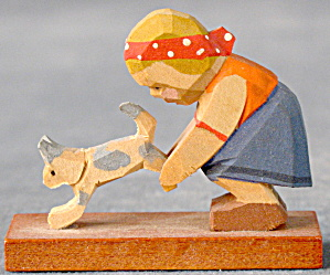 Vintage Erzgebirge Miniature Hand Carved Cat & Girl