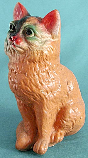 Vintage Carnival Chalk Cat Statue (Image1)