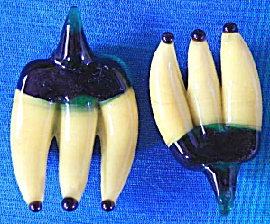 Vintage Glass Bananas Set Of 2