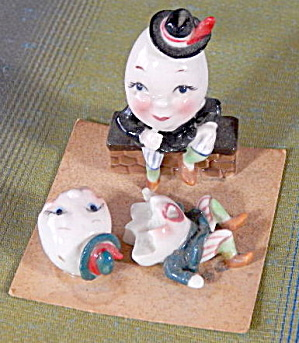 Vintage Humpty Dumpty Figurine Set 3 Piece