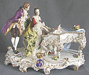 Antique Dresden Lovers at Piano (Image1)