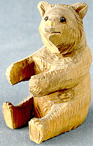 Vintage Wooden Carved Bear