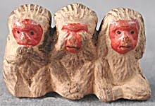 Vintage See, Hear, Speak No Evil Monkeys (Image1)