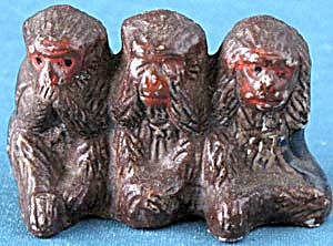 Vintage Hear No Evil Monkeys Figurine