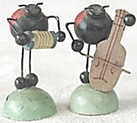 Vintage Wooden Ladybugs With Instruments