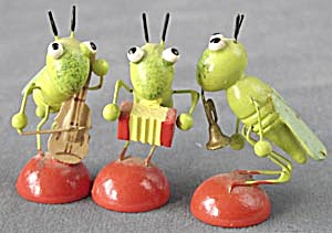 Vintage Wooden Grasshoppers With Instruments