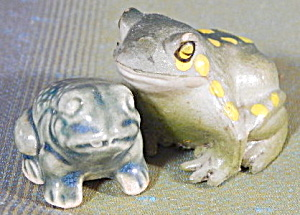 Vintage Ceramic & Rubber Toads Set Of 2