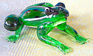 Vintage Green Glass Frog Ready To Hop