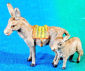 Vintage German Metal Burro & Baby Figurine