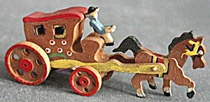 Vintage Wooden Horse And Carriage