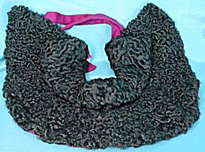 Vintage Black Persian Lamb Cape-let (Image1)