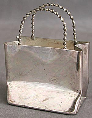 Silver Tone Metal Shopping Bag (Image1)