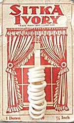 Vintage Sitka Ivory Curtain Rings on Card (Image1)